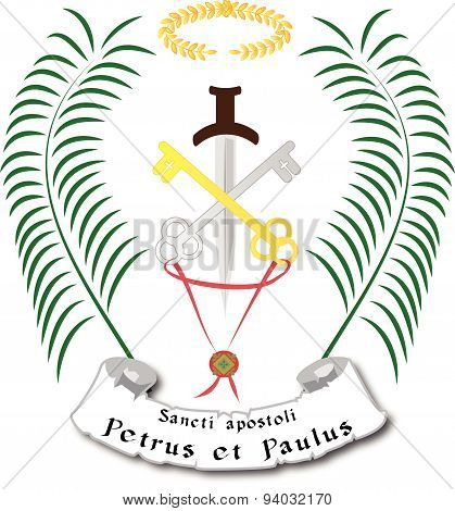 St Peter and Paul apostles symbol with palms of martyrs