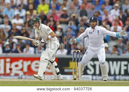 MANCHESTER, ENGLAND - August 04 2013: Steven Smith and Matt Prior during day four of  the Investec Ashes 4th test match at Old Trafford Cricket Ground, on August 04, 2013 in London, England.
