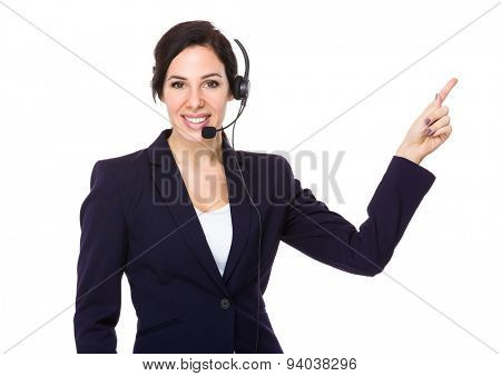 Call center agent with finger point up poster