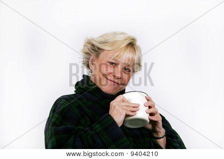 Older Woman Enjoying Coffee