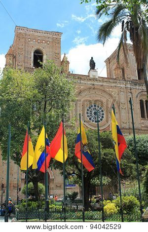New Cathedral With National And Local Flags In Cuenca, Ecuador