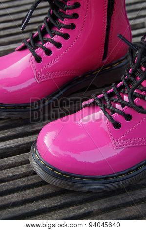 Punk alternative girl or woman boots - pink shoes