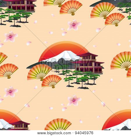 Japanese Abstract Background With Fans And Landscape