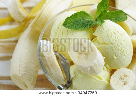 fruit ice cream with fresh banana and mint