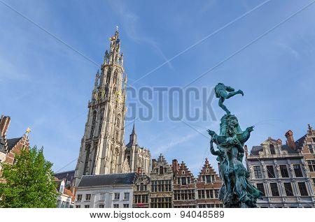 Antwerp, Belgium - May 10, 2015: Grand Place In Antwerp, Belgium.
