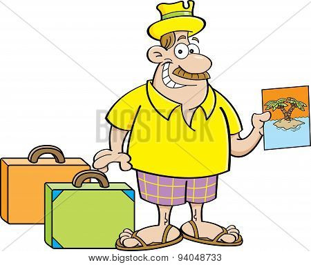 Cartoon man with suitcases