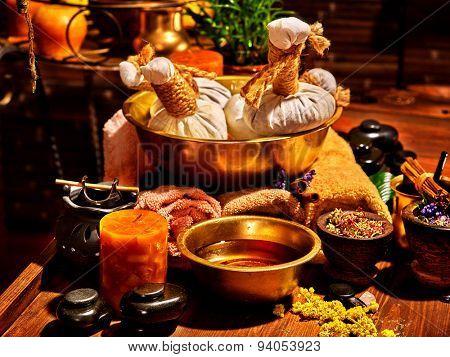 Luxury ayurvedic spa massage still life. Oil and stone.