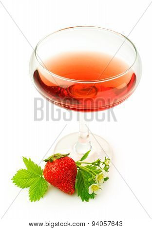 Red beverage and fresh strawberry isolated on white poster
