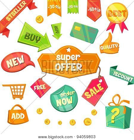 Emblem Sale, Discount Super Offer Vector