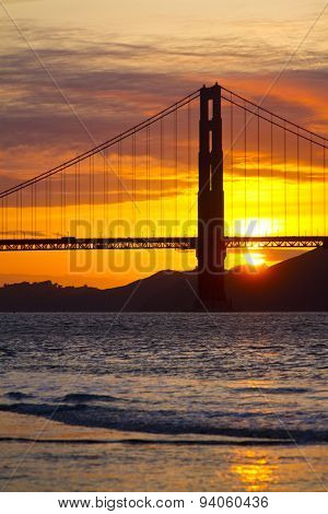 Golden Gate Bridge in San Francisco at Sunset over the Pacific Ocean