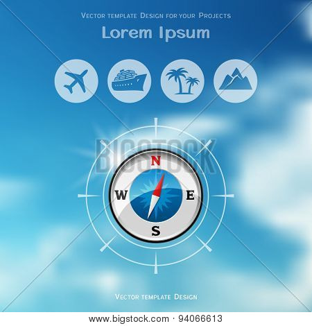 Travel brochure cover design with compass icon on blue sky blurred background
