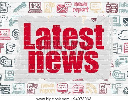 News concept: Painted red text Latest News on White Brick wall background with  Hand Drawn News Icons, 3d render poster