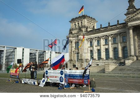 Anti-fascists Protest At The Entrance To Reichstag, Berlin, Germany