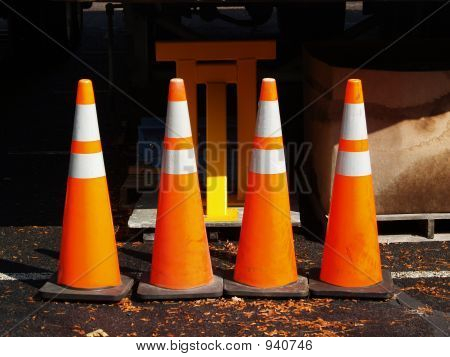 Four Warning Cones