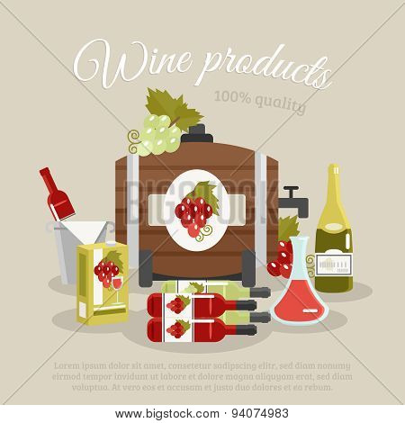 Wine Products Flat Life Still Poster