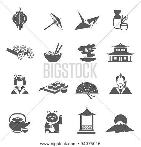 Japan Silhouette Flat Icon Set