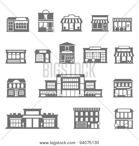 Stores and malls black white icons set