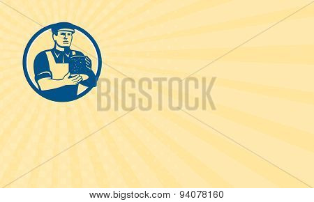 Business Card Cheesemaker Holding Cheese Retro