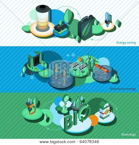 Green Energy Isometric Banners