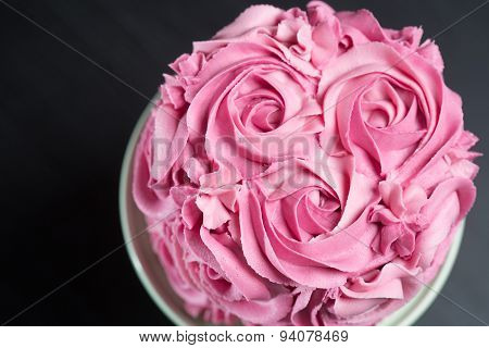 Cake Decorated With Pink Roses