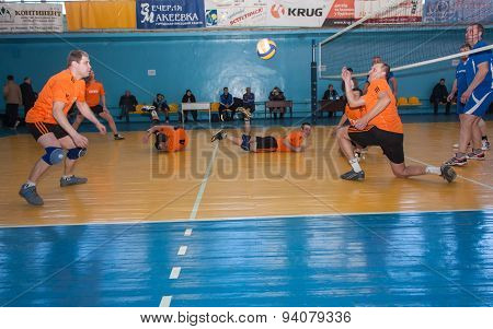 Makeevka, Ukraine - February 26, 2013: Game Episode Volleyball Tournament Among Amateur Teams Coal M