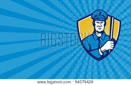 Business Card Policeman Police Officer Baton Shield Retro