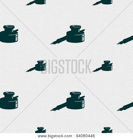 Pen And Ink Icon Sign. Seamless Pattern With Geometric Texture. Vector