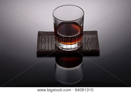 Glass Of Strong Amber Alcoholic Drink