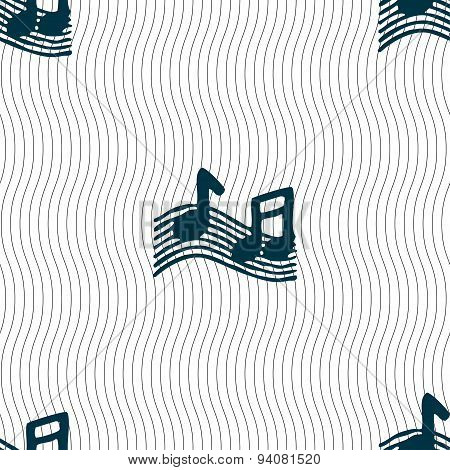 Musical Note, Music, Ringtone Icon Sign. Seamless Pattern With Geometric Texture. Vector
