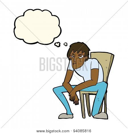 cartoon dejected man with thought bubble