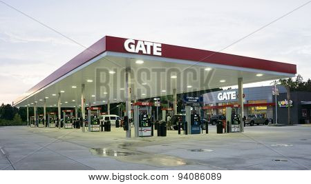 JACKSONVILLE, FL - JUNE 22, 2015: A Gate Petroleum gas station in Jacksonville. Gate Petroleum is headquartered in Jacksonville and has over 225 gas stations in six states with over 2,200 employees.