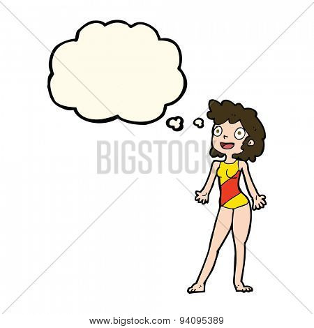 cartoon woman in swimming costume with thought bubble