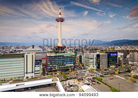 KYOTO, JAPAN - MARCH 31, 2014: Traffic passes below Kyoto Tower. The city was once the capital of Japan for over 1,000 years.