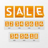 Vector illustration Countdown Timer Sale. White letters on orange boards. The concept of expiration time poster