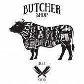 Butcher cuts scheme of beef.Hand-drawn illustration of vintage style poster