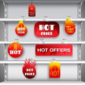 Hot sale clearance discount prices red  wobblers on empty department store display racks advertisement realistic vector illustration poster