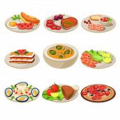 Set of food icons. European lunch. Vector illustration poster