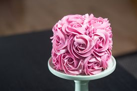 Gourmet Cake Decorated With Pink Roses