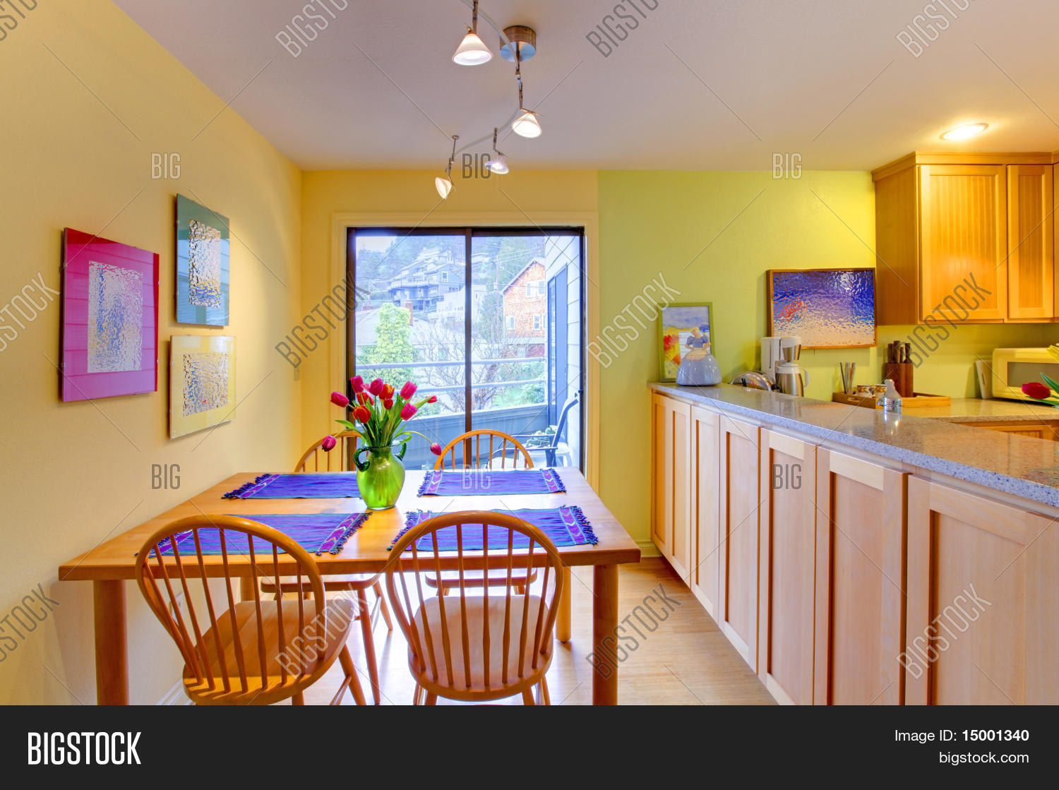 Hy Yellow And Purple Kitchen Dining Table