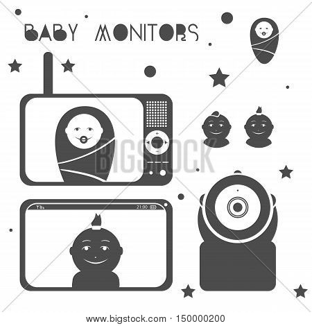 Baby monitors silhouette design element with mother and child.