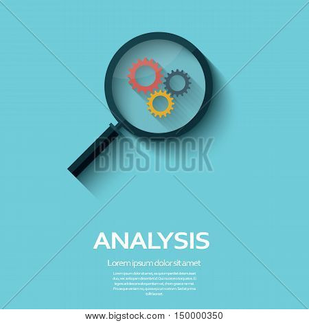 Business Analysis symbol with magnifying glass icon and gears. Long shadow flat design. Eps10 vector illustration.