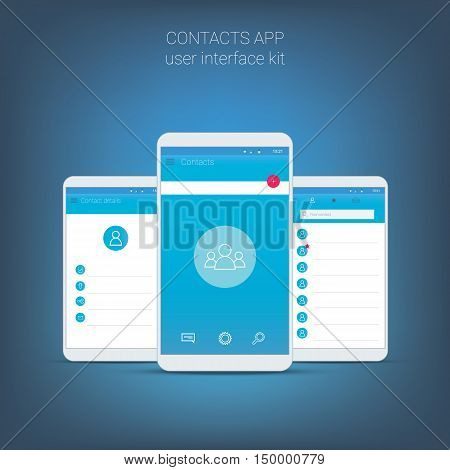 Flat design user interface for smart phone or mobile contact apps. Navigation menu with line icons and buttons. Contacts details and list screens. Eps10 vector application.