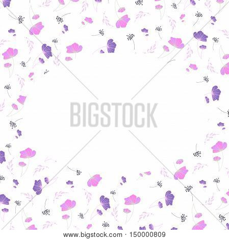 the delicate vector frame of pink flowers
