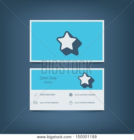 Modern flat design business card template. Graphic user interface with line icons for website, email contact, phone, mobile and home address. Eps10 vector illustration