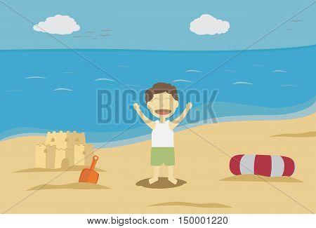 Boy Enjoying Playtime on The Exotic beach