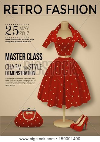 Retro fashion poster with polka dot dress, vector illustration