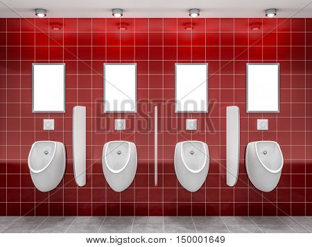 3d rendering of a red public restroom with four urinals