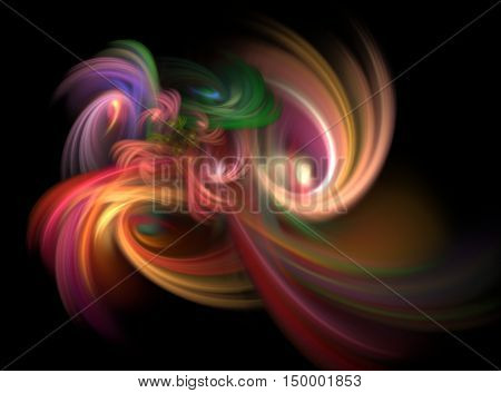 Abstract Fractal With Chaotic Cosmic Rainbow On Black