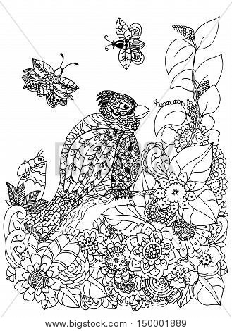 Vector illustration zentangl bird on a branch in a flower frame. Doodle drawing. Meditative exercises. Coloring book anti stress for adults. Black and white.