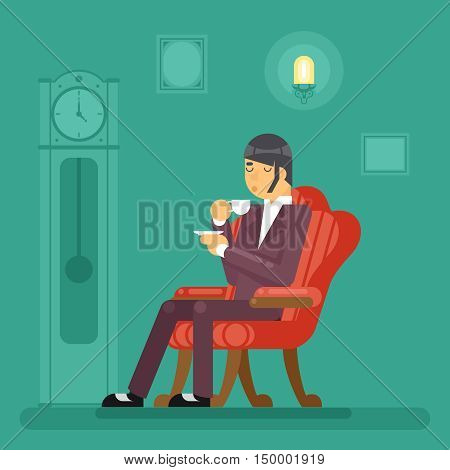 Gentlemen Tea Time Drink Evening Flat Vector Illustration
